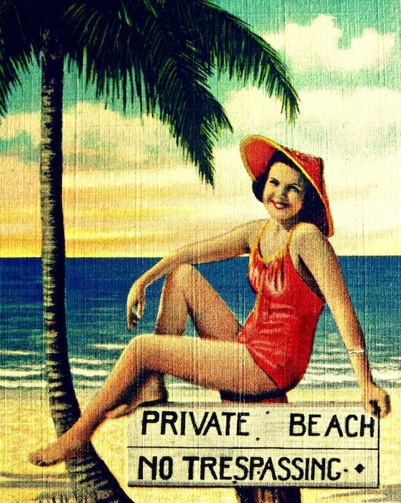 Beach Decor Art, Vintage Beach Art, Wife Gift, Vintage Swimsuit Art, Beach House Hostess Gift, Beach Decor Coastal, Beach Decor Bathroom Art