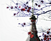 A Cross Behind the Red Leaves Photography Print, Maple Tree Photo, Nature Wall Decor