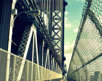 Vintage Manhattan Bridge NYC Photography Print New York City Photo Wall Art,