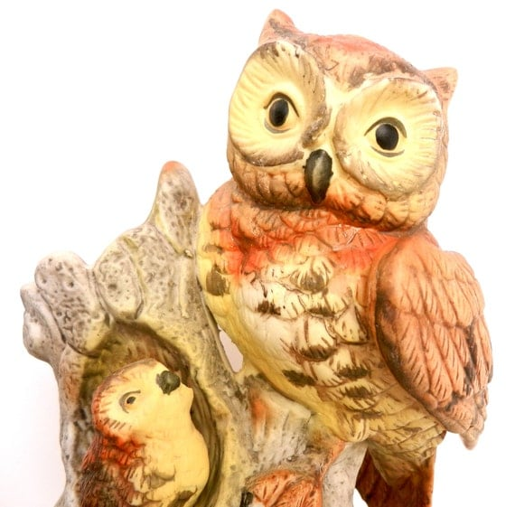 Vintage Mother Owl & Baby Statuette -  Brown, Yellow Ceramic Birds Decor / Forest Family