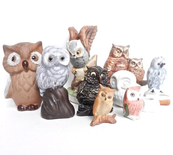Vintage Owl Figurine Lot -  9 Retro Cute Ceramic Bird Decorations / Instant Owl Collection