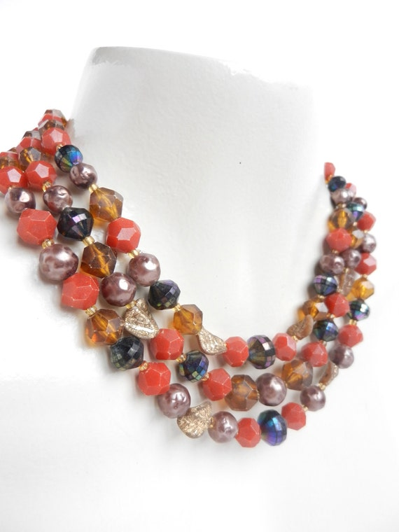 Vintage Beaded Necklace - Layered Multi-Strand Red & Brown Costume Jewelry / Fall Layers