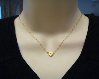 Gold Heart Initial Necklace- Monogram Charm - Bridesmaid gifts - Flower Girls - Heart Jewelry - Wedding - Everyday Necklace