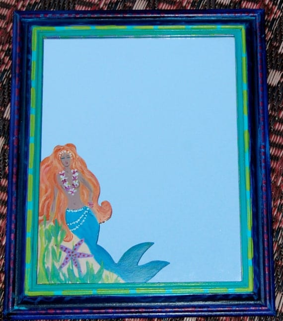 Handmade Hand Painted Cut Out Mermaid Mirror RESERVED