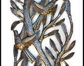 "Metal Wall Hanging, Haitian Steel Drum Metal Art, Birds in Tree Branch - Metal Wall Art, Handcrafted Metal Art, Haitian Art -8"" x 34"" -JJ619"