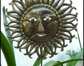Sun Garden Plant Stake - Metal Plant Marker - Steel Drum Art from Haiti - Outdoor Garden Decor - PS-1776