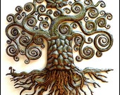 "Tree Metal Art Wall Hanging - 34"" Haitian Recycled Steel Drum Wall Decor - Handcrafted Decorative Art of Haiti - Metal Tree Art - 424-34"