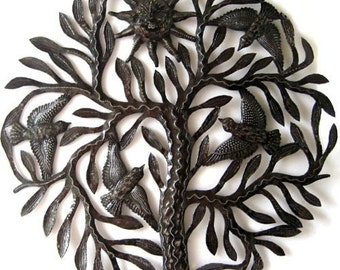 "Metal Wall Hanging - Birds in Tree, Haitian Art, Metal Sculpture, Haitian Steel Drum, Metal Art, Home Decor - Metal Wall Art - 24"" - 402"