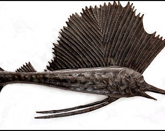 "Metal Wall Decor - Metal Art- Fish Metal Hanging - 34"" Sailfish, Hand Hammered Haitian Recycled Steel Drum Art - Fish Home Decor - 1654-34"