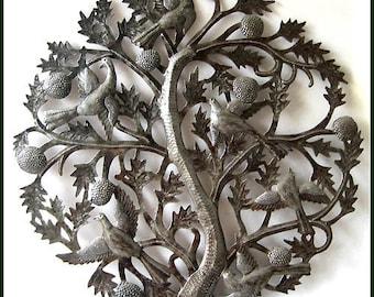 "Metal Wall Art - Tree of Life, Metal Art, 24"" Metal Wall Hanging - Haitian Steel Drum Wall Art - Haitian Metal Art - Metal Wall Decor - 433"