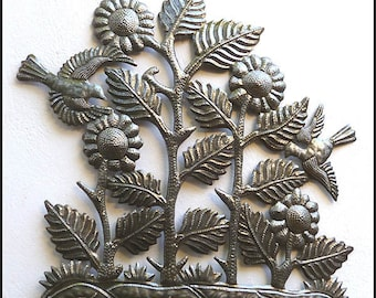 sunflower metal art wall hanging 24 floral design haitian recycled steel drum wall - Outdoor Metal Wall Decor