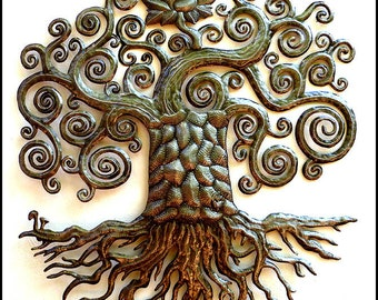"Metal Art, Tree Wall Hanging - Metal Wall Art, 34"" Haitian Recycled Steel Drum Wall Decor - Art of Haiti - Metal Tree Art - 424-34"