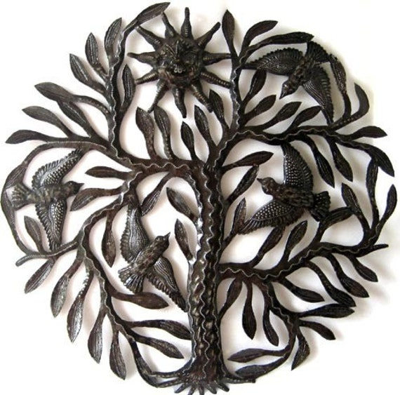 "Metal Wall Hanging - Birds in Tree, Haitian Art, Metal Sculpture, Haitian Steel Drum Metal Art Home Decor -Tree Metal Wall Art - 24"" - 402"