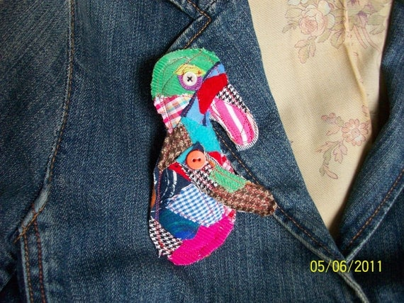 ICKEBADIKA upcycled patchwork buddy doll brooch for anyone who has love to share by Claudia Fill