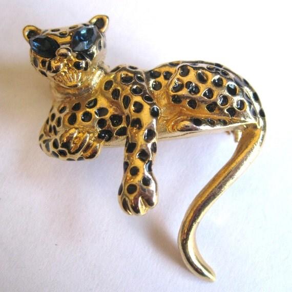 Vintage 80s Gold Enamel Rhinestone Exotic Leopard Jungle Cat Brooch Pin