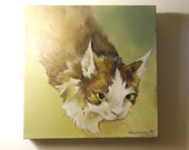 10 inch x 10 inch custom pet portrait in acrylic.