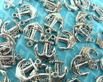 20x 20mm Silver Acrylic Anchor Charms