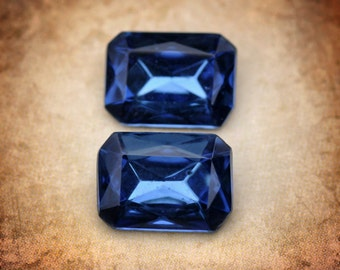 18xs13mm Vintage Montana Blue Sapphire Vintage Glass faceted Gems, Czechslovakia, quantity 2