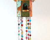 Birdhouse Suncatcher Circus Animal Circus Theme Beaded Mixed Media Bohemian Boho Childs Room Outdoor Decor Garden Decor