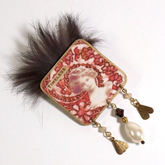 Mink Pearl Brooch Decoupaged Lapel Pin Vintage Photo Woman Deep Peach Fur Wearable Art Gift for Her