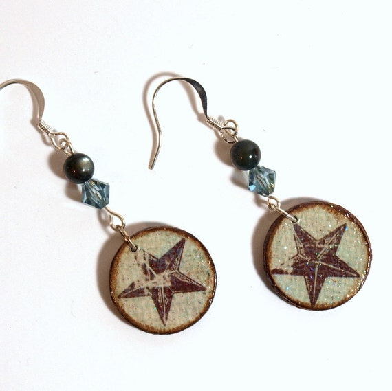 Decoupaged Earrings Circle Drop Star Dangle Earrings Crystal Beaded Pale Aqua Gray Blue Summer Jewelry