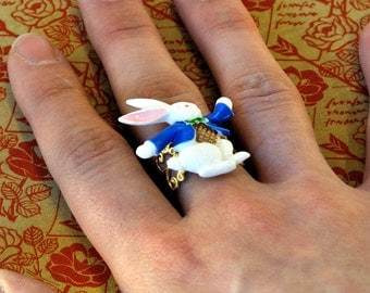 White Rabbit Ring - Alice in Wonderland Jewellery - Literary Gifts
