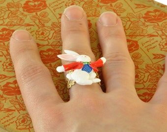 White Rabbit Ring, Alice in Wonderland Jewellery, Bookworm Gifts