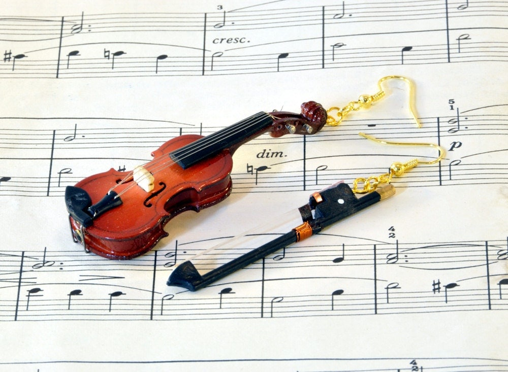Violin Earrings with Bow in Case - Mismatched Earrings - Violin Gift - Violin Jewellery