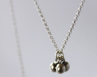 tiny ball cluster pendant. simple necklace. delicate chain. sterling or gold vermeil • • katia 3-drop necklace