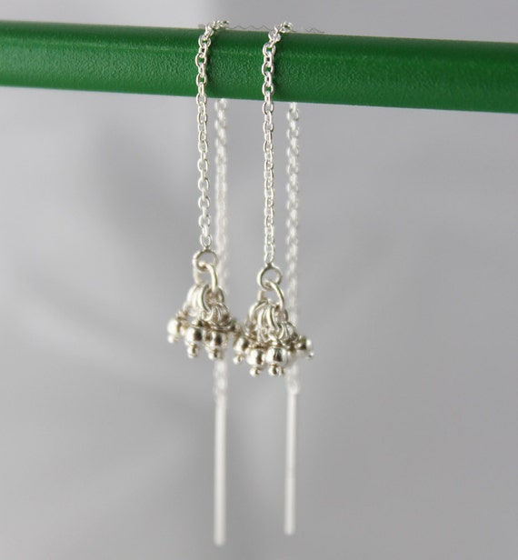 delicate sterling threaders. tiny ball clusters. long chain. solid sterling silver • • teresa threader earring