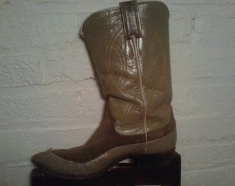 Justin Cowboy Boots Sage Green Leather and Suede Cowgirl Texas Boots 1950s