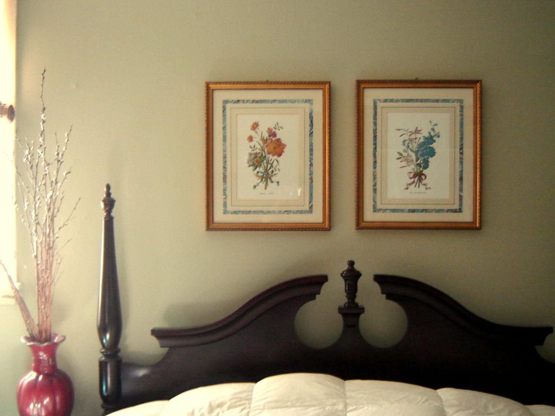 framed botanical prints vintage pair gold frames zoom