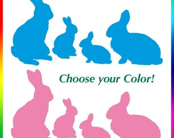 Easter Rabbits Vinyl Wall Art, Fun Easter Decorations of 20 Rabbits (2 Sets of Family of 10 Bunny Rabbit Silhouettes) (0173b7v)