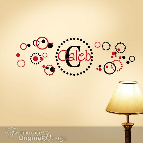 Monogram Decal, Polka Dots Wall Decal, Vinyl Decal Custom Name, Kids Room Decor, Initial in Circle of Dots One Name & Circles  (00168b)
