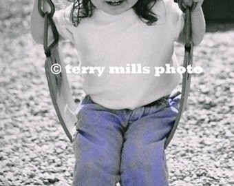 Little girl in Pink Hat Swinging Black and White with Selective Coloring  4x6