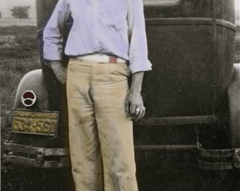 Proud American with his Model A Ford auto in Blue and Brown 5x7