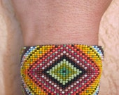 Huichol Inspired Rainbow Ojo de Dios Beaded Eye of God Statement Bracelet