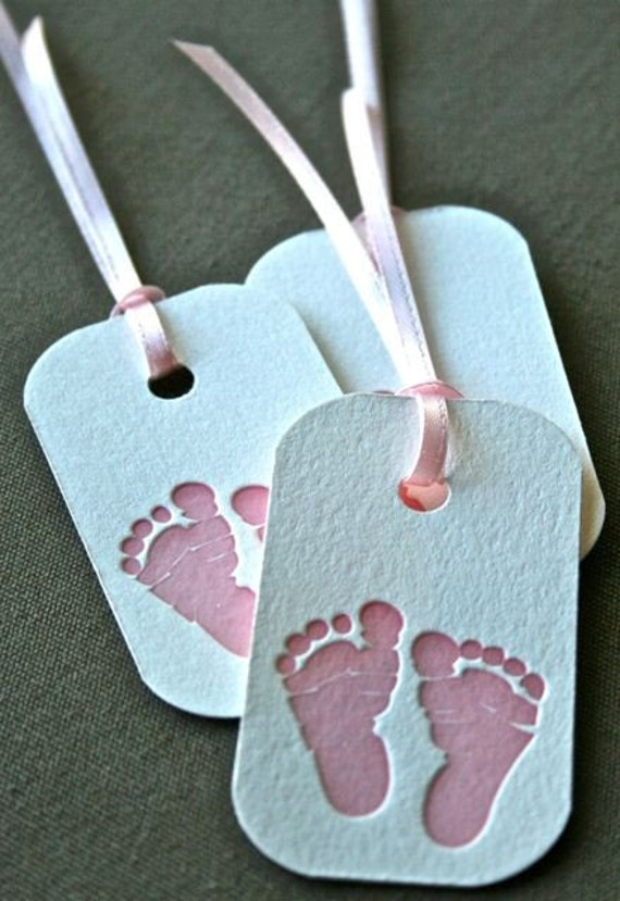 Pink Baby Feet Letterpress Gift Tag Set of 3