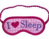 I Love Sleep Blindfold, I heart sleep eyemask, Pastel sleep mask, Pink heart embroidery, Magenta gift for her teen, Choose cotton or silk