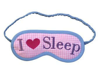 I Love Sleep eye mask, I heart sleep mask, Pink heart embroidered blindfold, Checked sleeping mask, Sleepmask gift for her, Pastel eyemask