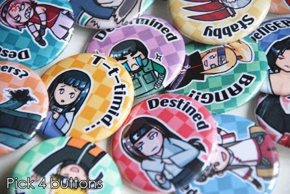 Pick 4 pinback buttons - Naruto ninja anime characters