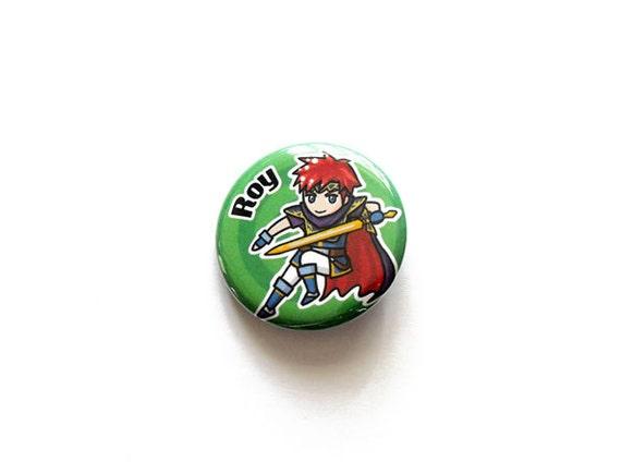 Roy Fire Emblem/Super Smash Brothers pinback button/magnet