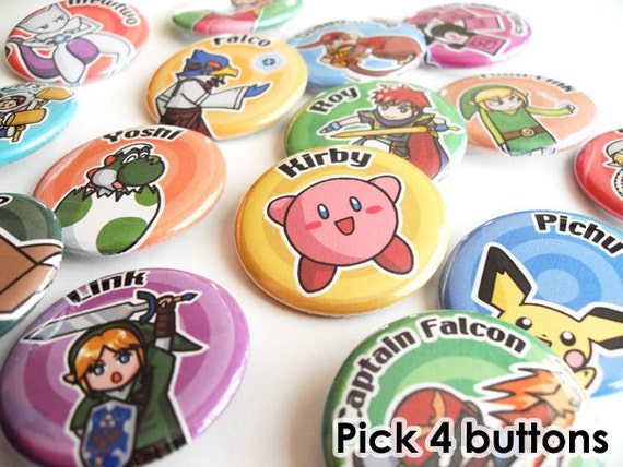 Pick 4 pinback buttons - Super Smash Brothers N64/Melee/Brawl/Wii U