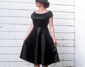1930s 40s Dress Black Satin Beautiful 30s Dress M/L