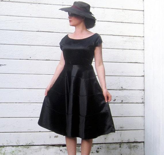 1930s 40s Dress Black Satin Beautiful 30s Dress M/L
