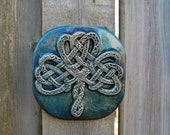 Celtic Knot Shamrock, Irish Art Gardener Gift, Garden Stone Art Sculpture, Wall Art, Ornamental Shamrock