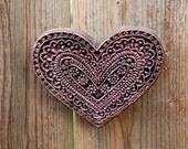 Heart Art Floral Heart Stone Art Sculpture, Rustic Heart, Be My Valentine Heart, Wedding Gift, Engagement Gift