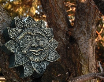 Paisley Sun Face Garden Sculpture, Rustic Sun Sculpture Stone Art, Outdoor Wall Art, Concrete Garden Art
