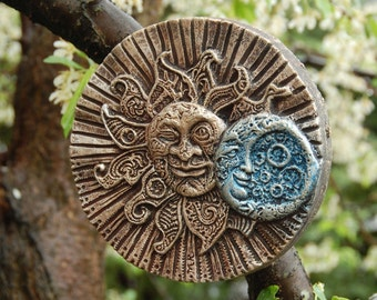Garden Sun Stone Art Sculpture, Eclectic Eclipse, Outdoor Wall Art, Sun Moon Garden Art Garden Gift