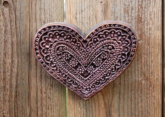 Pink Heart Art Garden Wedding Gift, Floral Heart Stone Art Sculpture, Rustic Heart, Engagement Gift